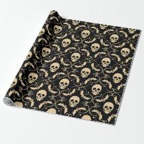 Black & Cream Halloween Skulls & Bats Party Wrapping Paper