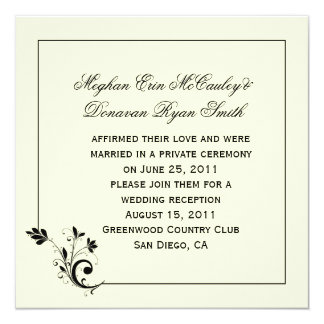 Black Cream Ivory Floral Swirls Frame Post Wedding Card