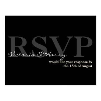 Black cream RSVP simple wedding response card