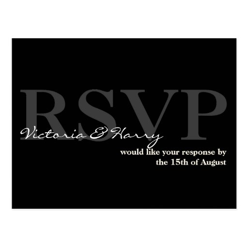 Black cream RSVP simple wedding response card Post Card