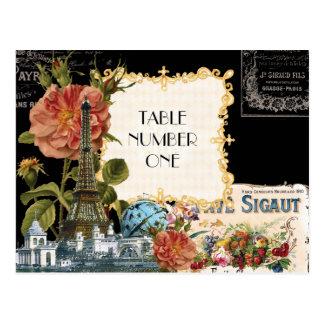Black Cream Vintage Eiffel Tower Rose Table Number Postcard