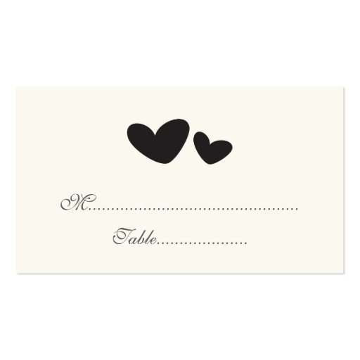 Black cream whimsical hearts wedding place cards business cards
