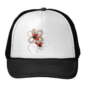 Black, Cream, White, Red Flowers Hat