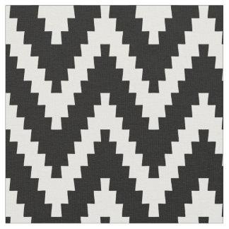 Black & Cream Ziggurat Chevron Pattern Fabric
