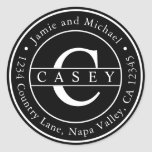 """Black Create Your Own Monogram Return Address Classic Round Sticker<br><div class=""""desc"""">CHANGEABLE BACKGROUND COLOR. Modern Family Name Return Address Classic Round Sticker. For more advanced customization of this design,  Please click the """"Customize"""" button above!</div>"""