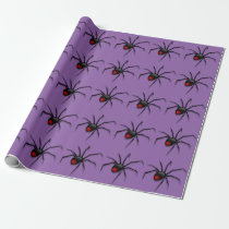 Black Creepy Halloween Spider Crawling Pattern Wrapping Paper