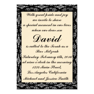 Black/Creme Bar Mitzvah/Birthday Invitation