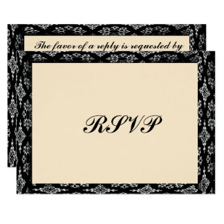 Black/Creme Bar Mitzvah/Birthday RSVP Card