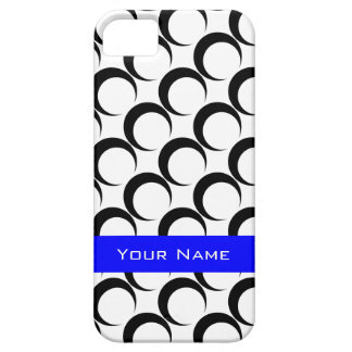 Black Crescent Moons/White, add name on Royal Blue iPhone SE/5/5s Case