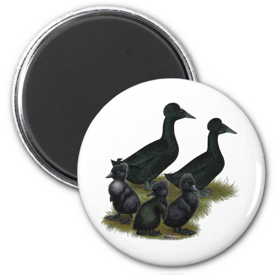 Black Crested Duck Family Magnet
