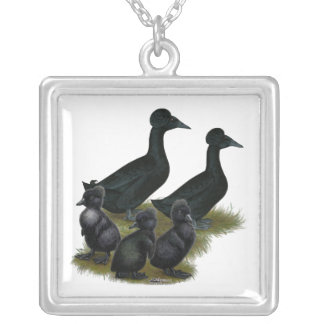 Black Crested Duck Family Personalized Necklace