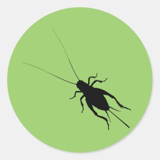 Black Cricket Round Stickers