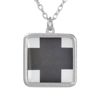 Black Cross by Kazimir Malevich Silver Plated Necklace