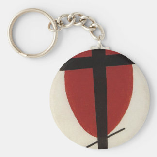 Black cross on a red oval by Kazimir Malevich Keychain