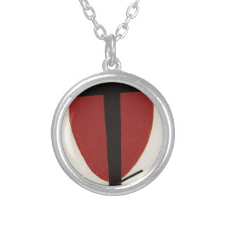 Black cross on a red oval by Kazimir Malevich Silver Plated Necklace