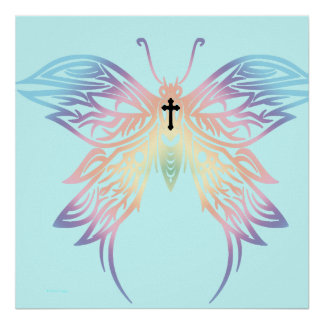 Black Cross Pastel Goth Butterfly Print