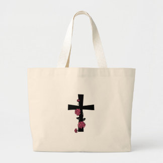 Black Cross with Pink Roses Tote Bag