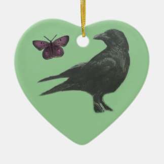 Black Crow and Butterfly heart-shaped ornament