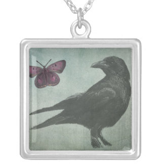 Black Crow and Butterfly necklace
