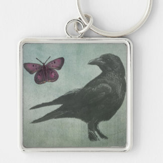 Black Crow and Butterfly premium keychain
