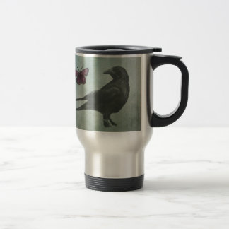 Black Crow and Butterfly travel mug