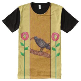 Black Crow Art Deco Roses Folk Art All-Over-Print Shirt