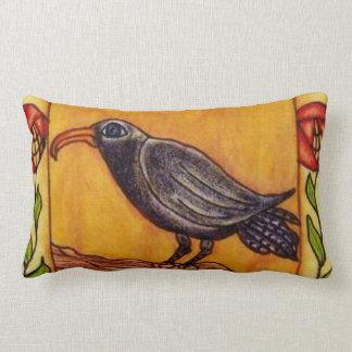 Black Crow Art Deco Roses Folk Art Lumbar Pillow