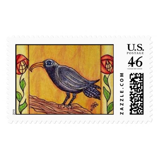Black Crow Art Deco Roses Postage Stamps