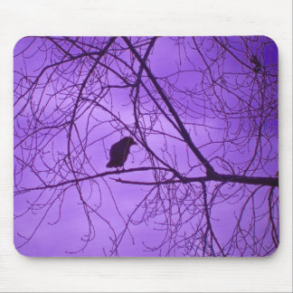 Black Crow Barren Tree Branches Purple Sky Mouse Pad