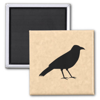 Black Crow Bird on a Parchment Pattern. 2 Inch Square Magnet