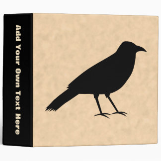 Black Crow Bird on a Parchment Pattern. 3 Ring Binder