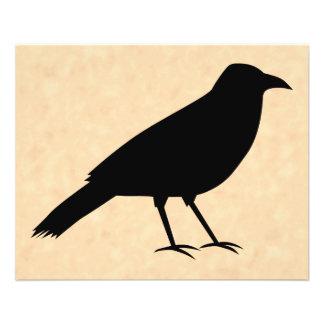 "Black Crow Bird on a Parchment Pattern. 4.5"" X 5.6"" Flyer"