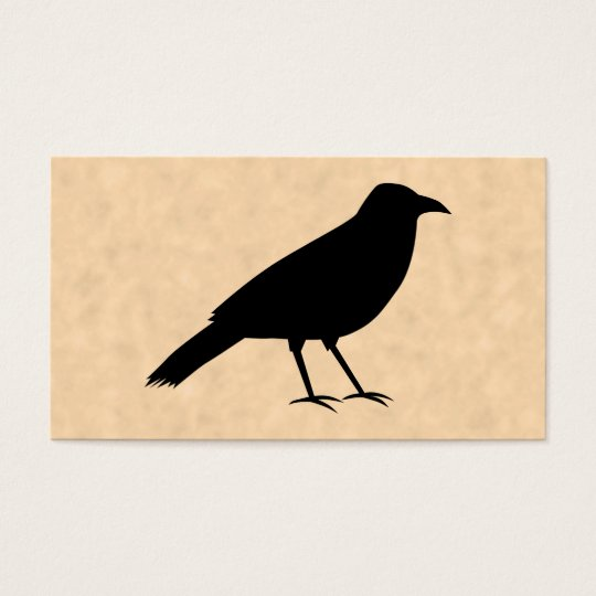 Black Crow Bird on a Parchment Pattern. Business Card