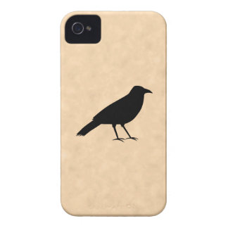 Black Crow Bird on a Parchment Pattern. iPhone 4 Covers