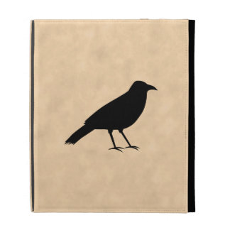 Black Crow Bird on a Parchment Pattern. iPad Folio Cover