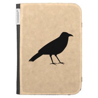 Black Crow Bird on a Parchment Pattern. Kindle Case