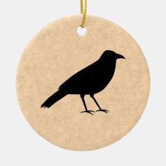 Black Crow Bird on a Parchment Pattern. Ceramic Ornament