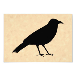 Black Crow Bird on a Parchment Pattern. 3.5x5 Paper Invitation Card