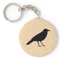 Black Crow Bird on a Parchment Pattern. Keychain