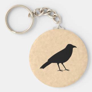 Black Crow Bird on a Parchment Pattern. Basic Round Button Keychain