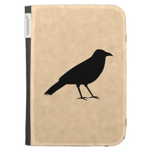 Black Crow Bird on a Parchment Pattern. Kindle 3 Cover