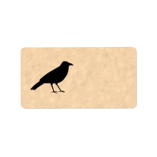 Black Crow Bird on a Parchment Pattern. Label