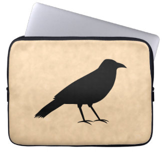 Black Crow Bird on a Parchment Pattern. Computer Sleeve