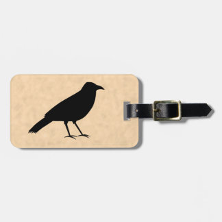 Black Crow Bird on a Parchment Pattern. Luggage Tag