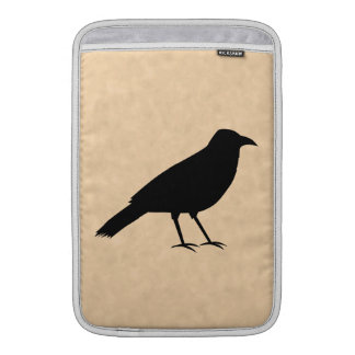 Black Crow Bird on a Parchment Pattern. MacBook Sleeves