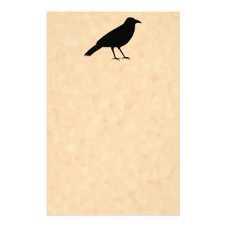 Black Crow Bird on a Parchment Pattern. Stationery