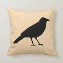 Black Crow Bird on a Parchment Pattern. Throw Pillow