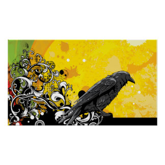 Black Crow Bird yeallow beautiful colorful Poster