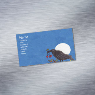 Black Crow Cherries Moonlight White Moon Magnetic Business Card