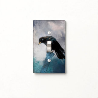 Black Crow Light Switch Cover